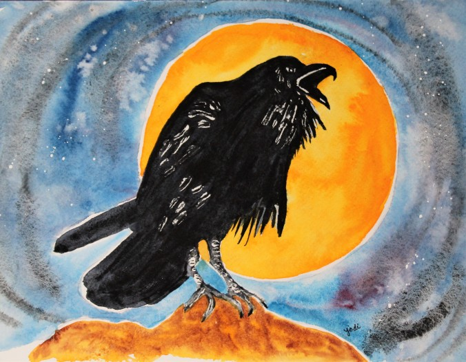 Full Moon Raven Watercolor 8x10