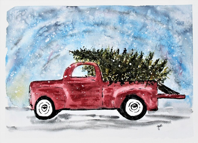 Classic Red Truck with Christmas Tree Watercolor - 11x14 - 140lb Fabriano Artistico