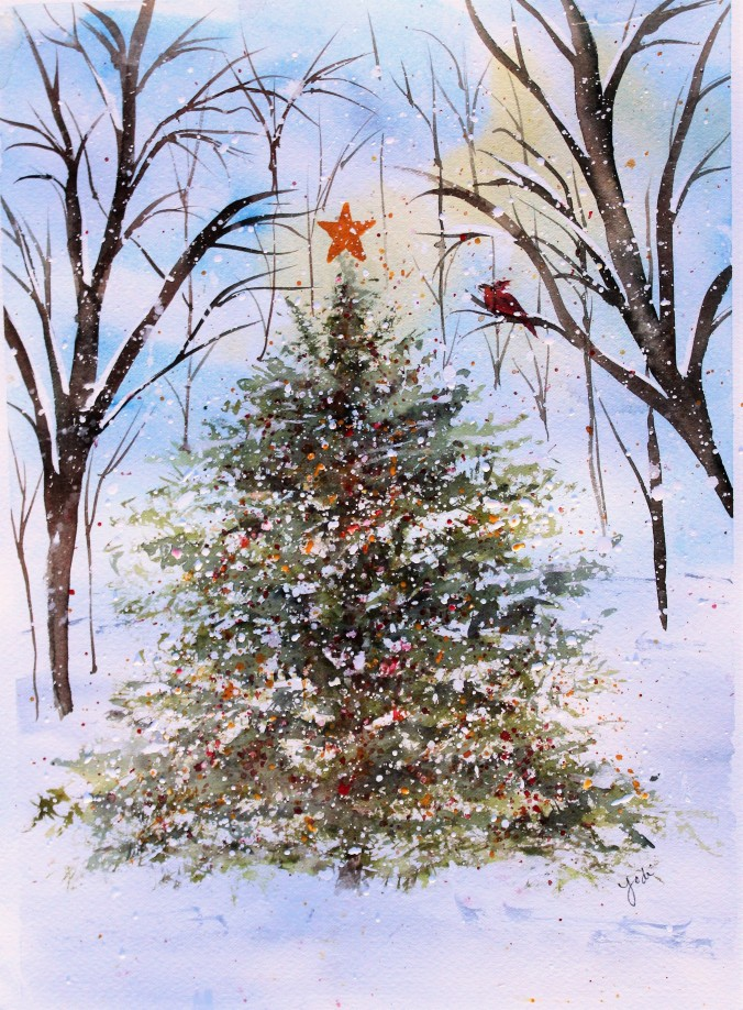Winter Wonderland Christmas Tree Watercolor 10x13
