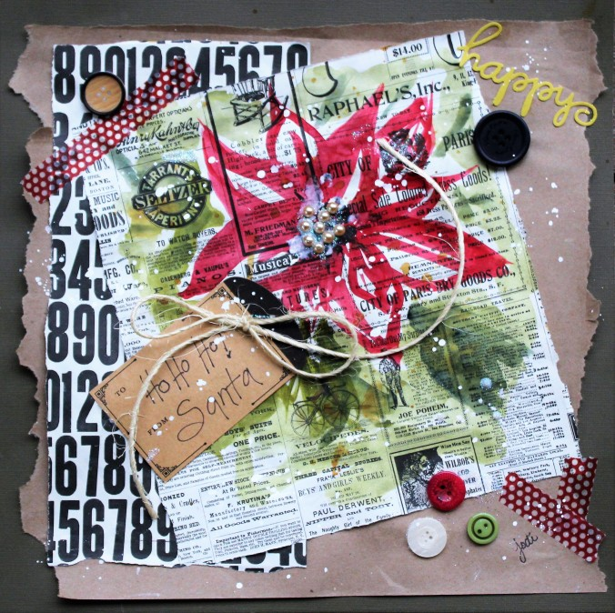 Mixed Media Holiday Poinsettia - 12x12
