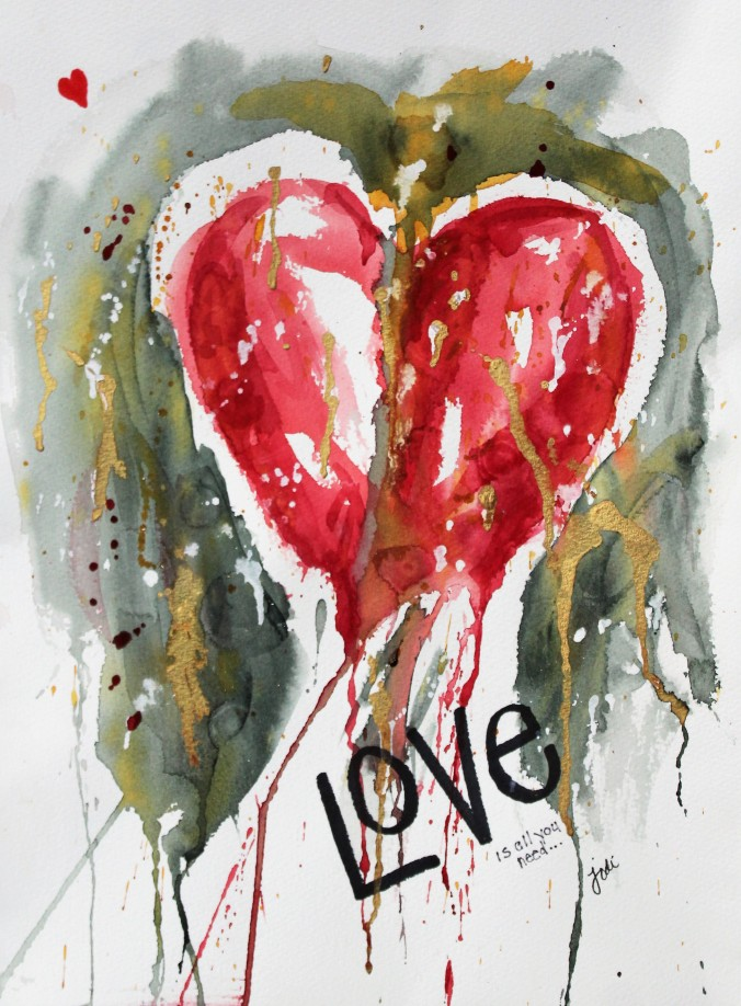 Love Heart Abstract Watercolor 11x14 140lb cold press
