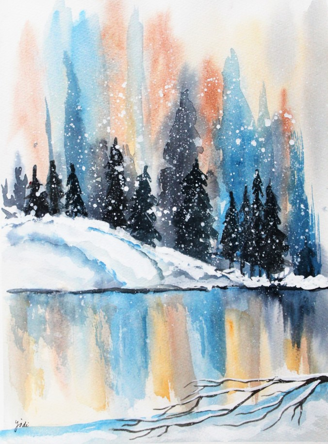 Winter Snowy Pine Reflections Watercolor - 11x14 140lb cold press