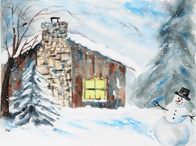 Cozy Cabin Winter Wonderland Watercolor 11x14 140lb cold press