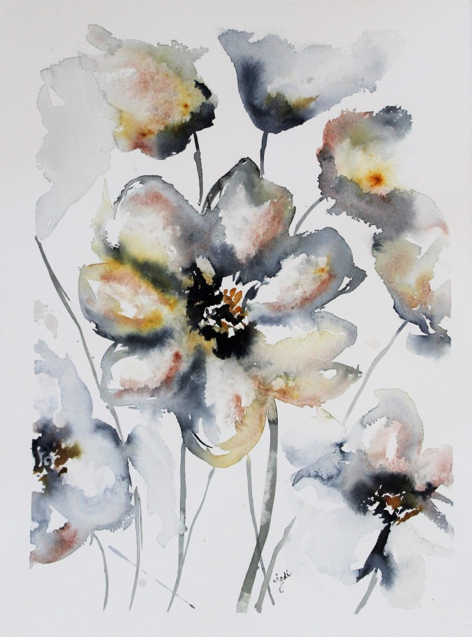 White Floral Abstract Watercolor 11x14 140lb Cold Press