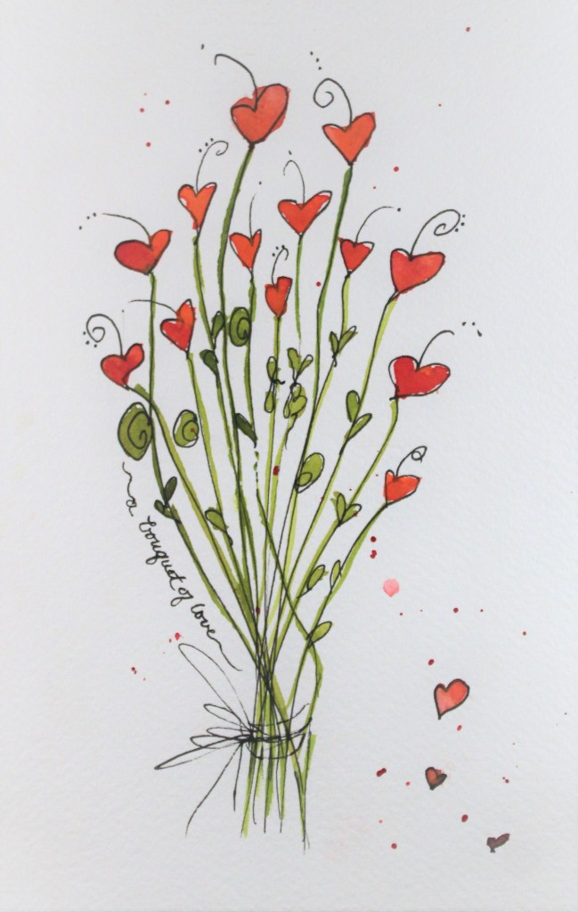 Heart Bouquet of Love Watercolor
