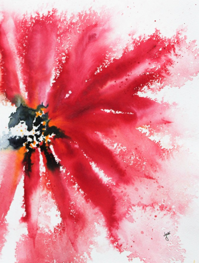 Red Crimson Abstract Floral Watercolor 11x14 140 lb coldpress