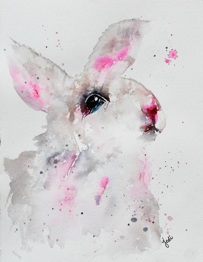 Soft Spring Bunny Watercolor 8x10