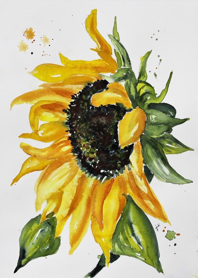 Sunflower Watercolor 11x14 140 lb cold press 012018