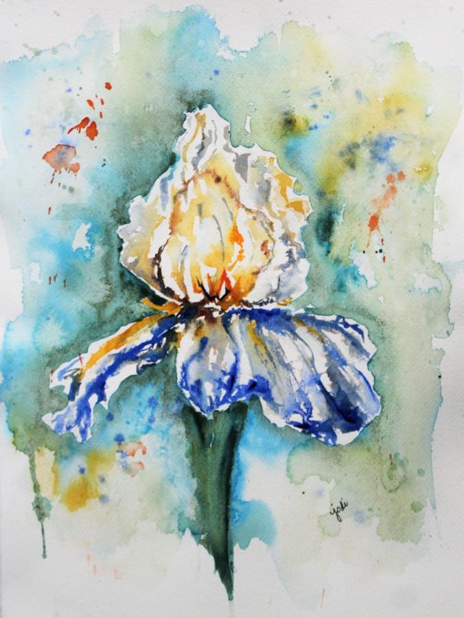 Blue Iris in Cascade Green Negative Watercolor 11x14
