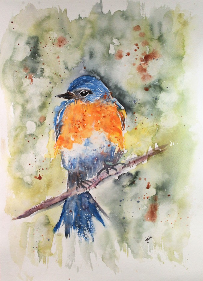 Kathy's Bluebird in Watercolor - 11x14 140 lb cold press
