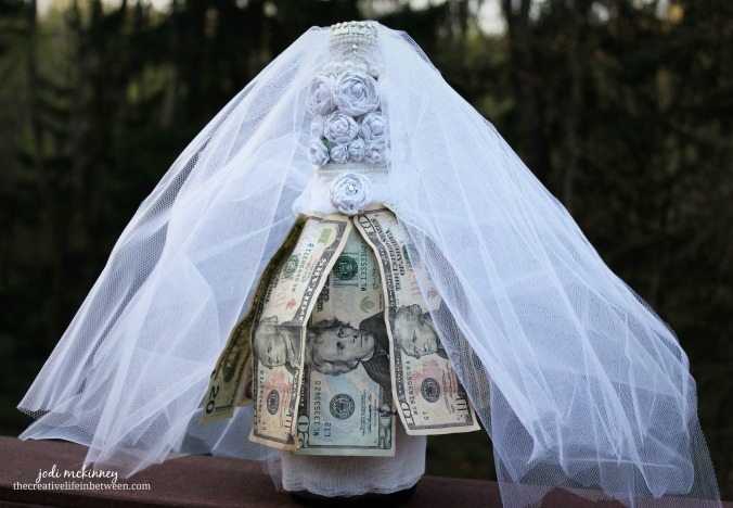 bridal shower money gift a champagne bottle wedding dress
