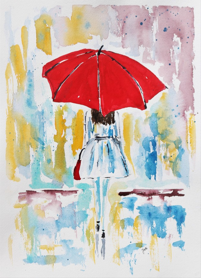 April Showers Red Umbrella Watercolor 11x14