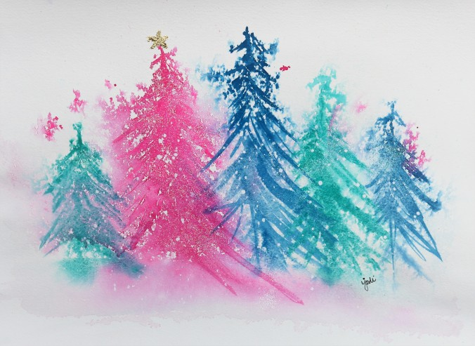 Sparkly Trees in Pink and Blue Original Watercolor Jodi McKinney 11x14